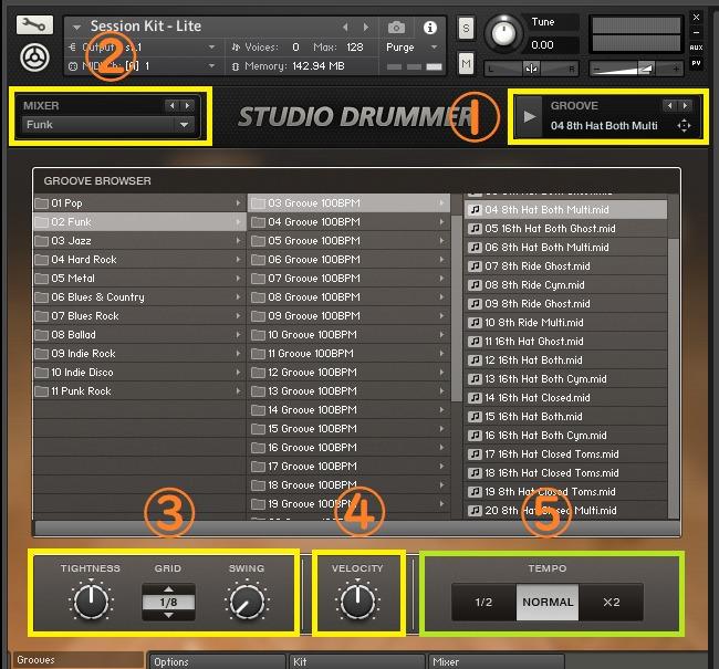 プラグイン音源「Studio Drummer」の画面