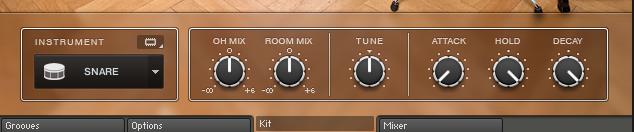 プラグイン音源「Studio Drummer」のパート別設定画面