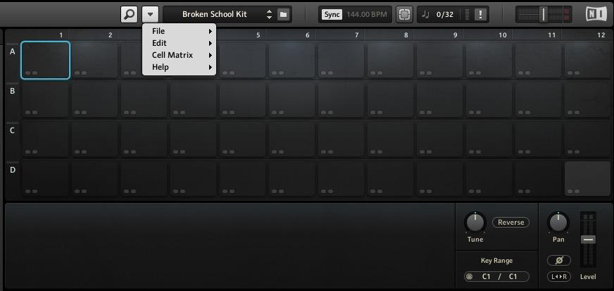 プラグイン音源「BATTERY4」のマトリックス画面