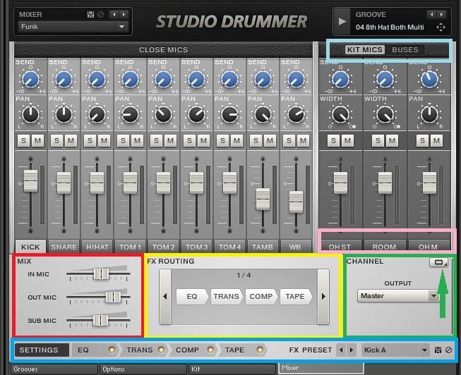 プラグイン音源「Studio Drummer」のミキサー画面