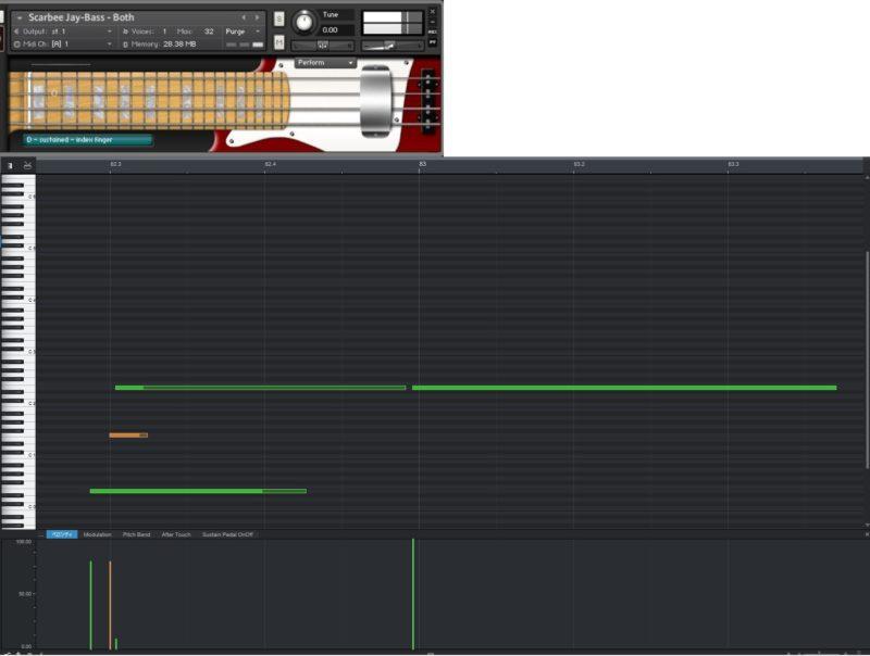 Scarbee Jay-Bassとピアノロール画面