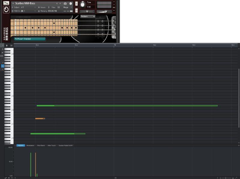 Scarbee MM-Bassとピアノロール画面